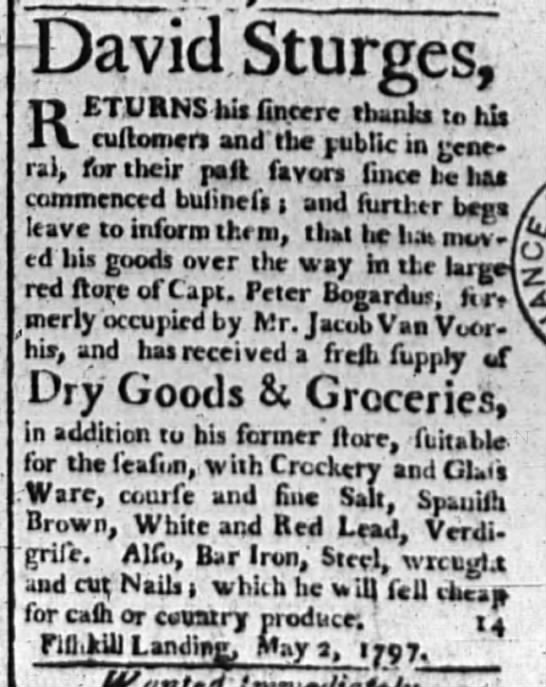 David Sturges Dry Goods and Groceries, Poughkeepsie NY 12 Sept 1797