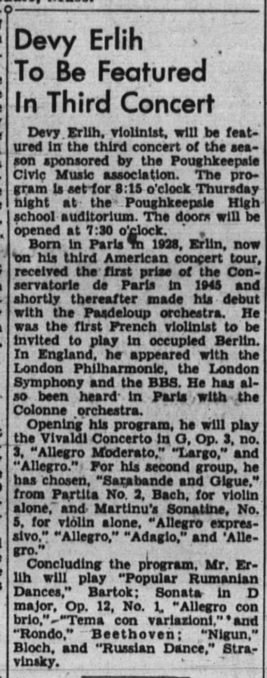 Devy Erlih to be featured in 3 concert 01/01/1950