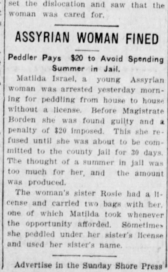 Assyrian woman fined for peddling w/o license