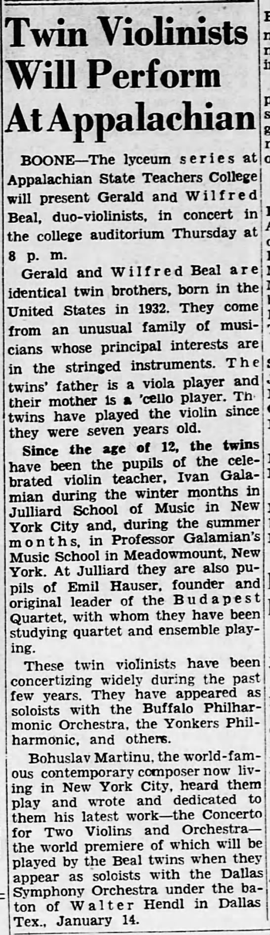 Twin violinists will perform at Appalachian 26/11/1950