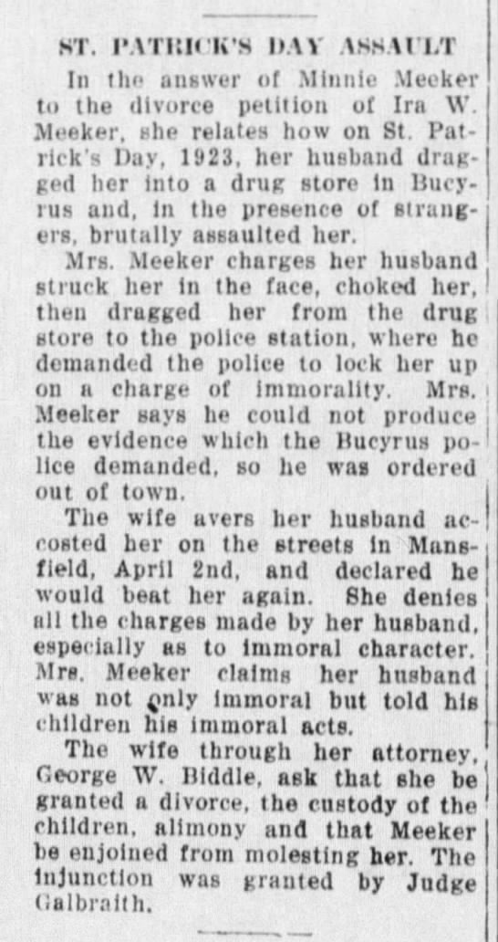 Minnie Meeker divorce petition of Ira W. Meeker relates St. Patrick's Day assault.