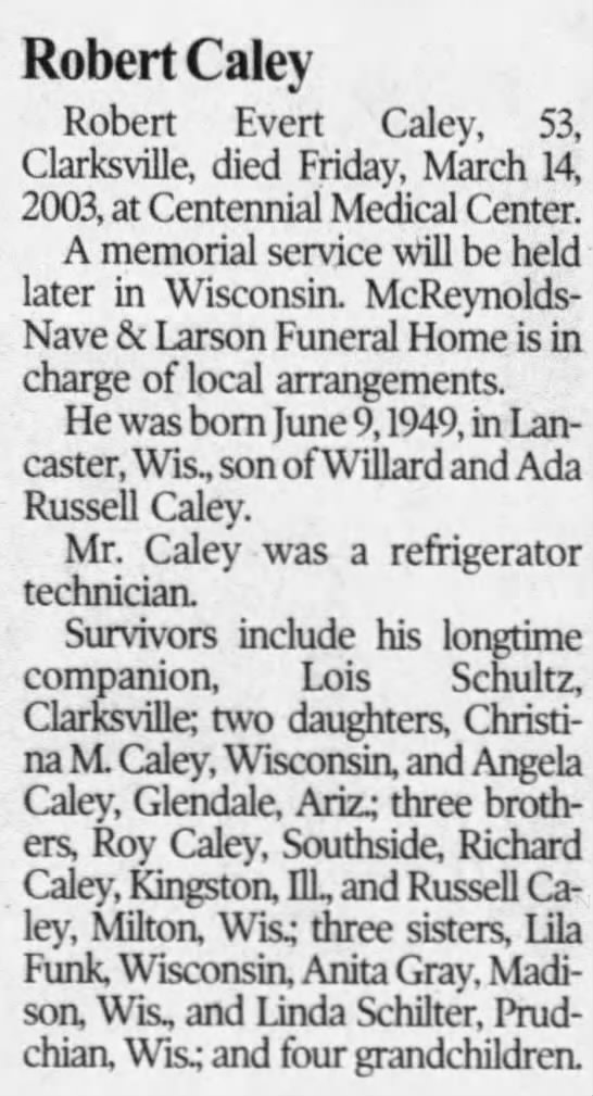 Obituary - Robert E. Caley
