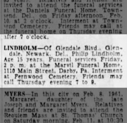 Phillip Harold Lindholm obituary 1961