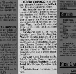 Albert Strahle obituary