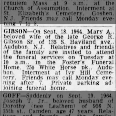 Mary Agnes Gibson - Obituary