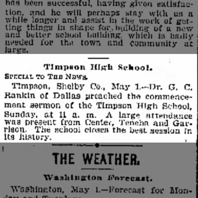 Timpson High School commecment