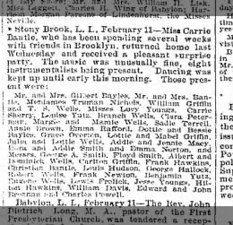 feb 11 1898 party for carrie bantle in stony brook