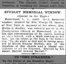 Brooklyn Daily Eagle 12 Apr 1899 p2 Elvira Studley Memorial Window