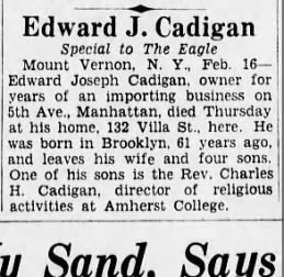My Great Grandfather's obituary in the Brooklyn Daily Eagle. Edward Joseph Cadigan
