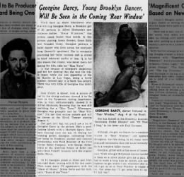 Article on Georgine Werger Darcy prior to her role as Ms Torso in Rear Window