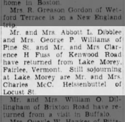 Abbott and Gwendolyn return from holiday at Lake Morey, Fairlee, Vermont - Tue. 19 Aug 1947.