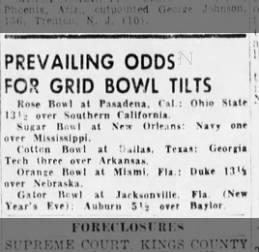 CFB odds 12/29/1954
