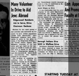 May 27 1940 Brooklyn Eagle article on a drive to help Jewish refugees