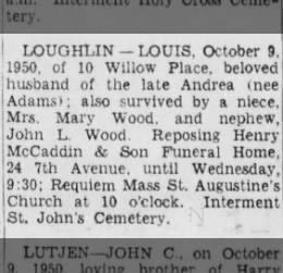 10/10/1950 Louis Loughlin obit
