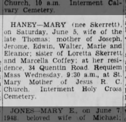 Mary Skerrett Haney June 5 1948 obit