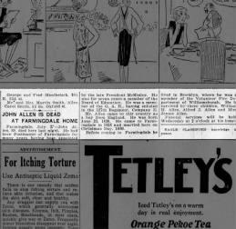 Allen, John Obit Brooklyn Eagle 7-29-1925