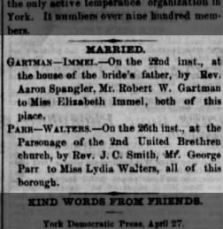 George Milton Parr  Lydia Walter(s) wedding announcement
