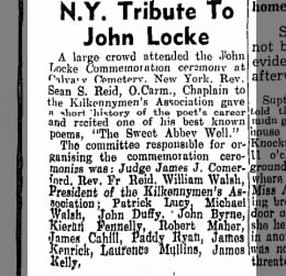N.Y. tribute to poet John Locke, includes  committee names