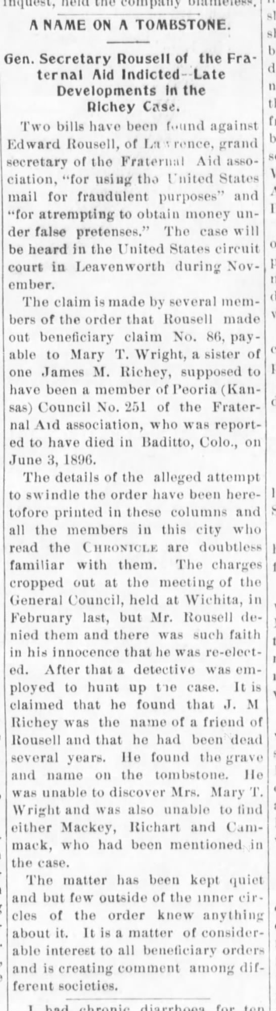 Rousell fraud oct 1897