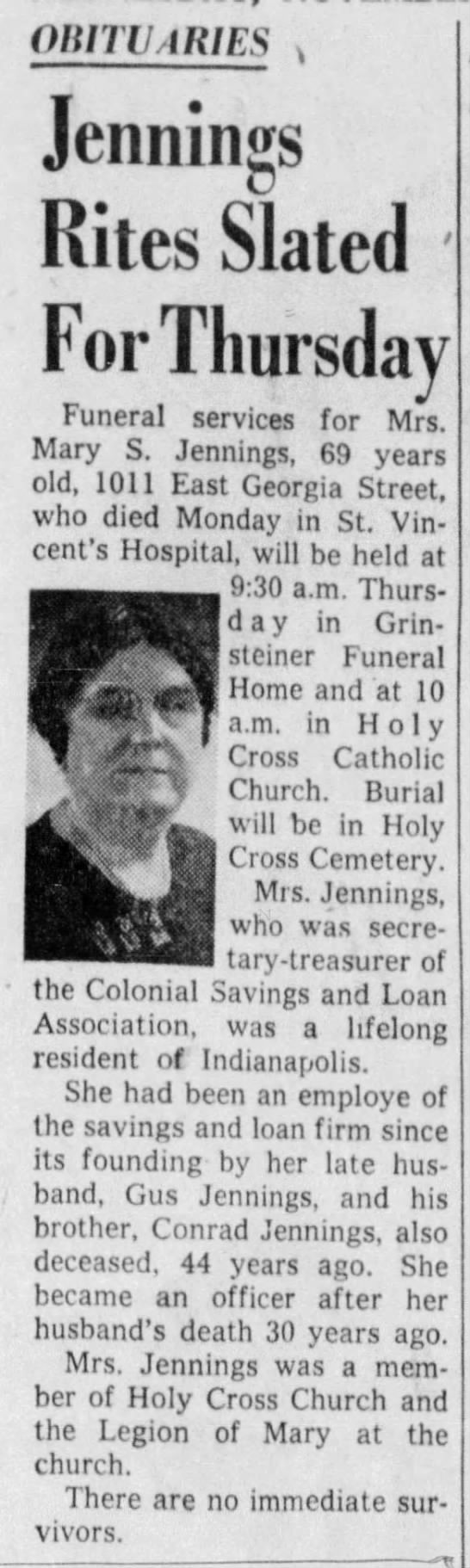 Mary S Jennings Obituary