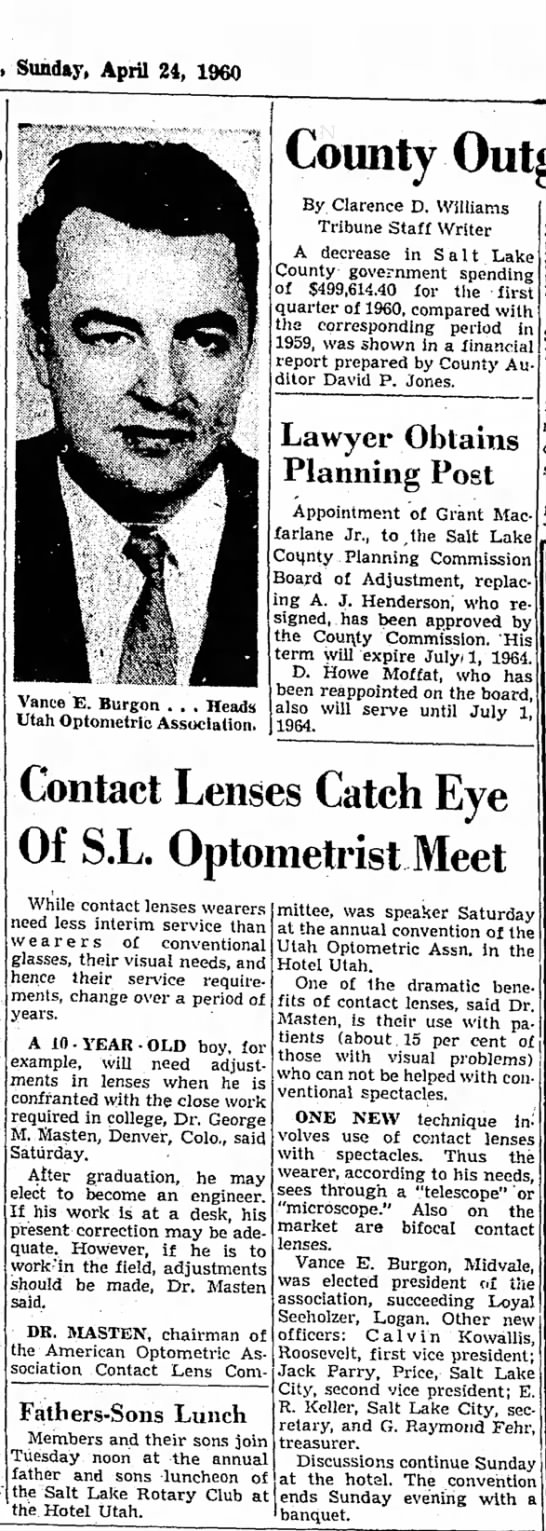 1960 Vance Burgon elected Pres. of the Utah Optomitrists