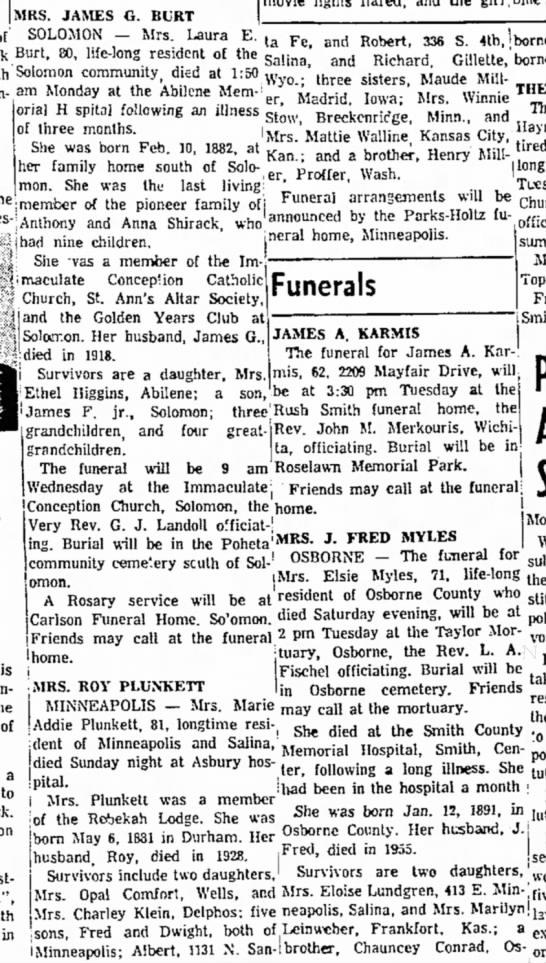 Marie Addie Plunket obitSalina Journal27 Aug 1962