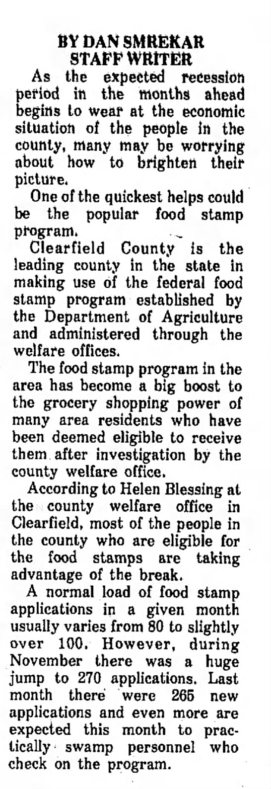 Helen Blessing-@work-The Courier Express-Dubois PA-p.11-16 Jan 1975