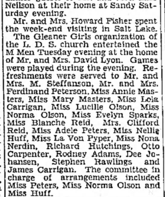 1930 Mar 23 Lola & James Carrigan attend Gleaner Girl's & M Men LDS social in Bingham