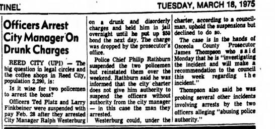 Platz Finkbinder arrest Westerburg Holland Evening Sentinel March 18, 1975