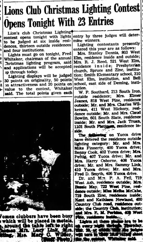 M/M Jack Truan, 1101 South Platinum, Deming, enter Christmas Lighting Contest. December 1955