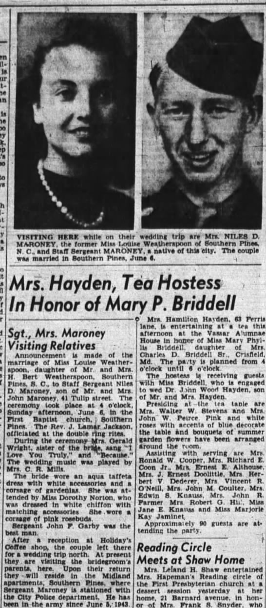Sgt and Mrs. Niles Maroney Visiting Relatives while on their wedding trip