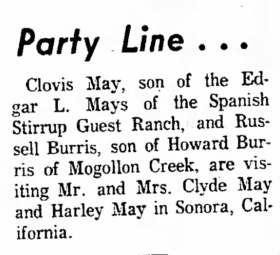 Clovis May visits M/M Clyde May and Harley May in Sonora, CA Aug 1963