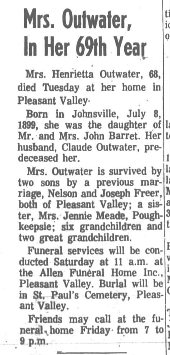 Henrietta Barrett Freer Outwater obituary Poughkeepsie Journal Wednesday, July 3, 1968