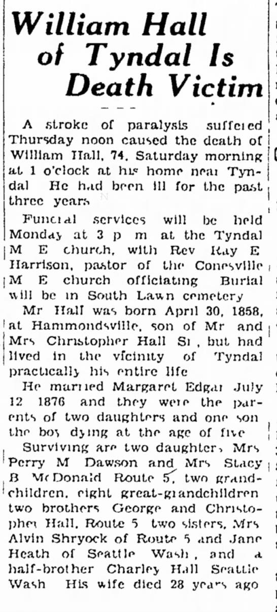 William Hall Obituary