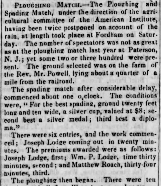 Could this be our Matthew Roach - winning a 'spading match' in Brooklyn in 1844?