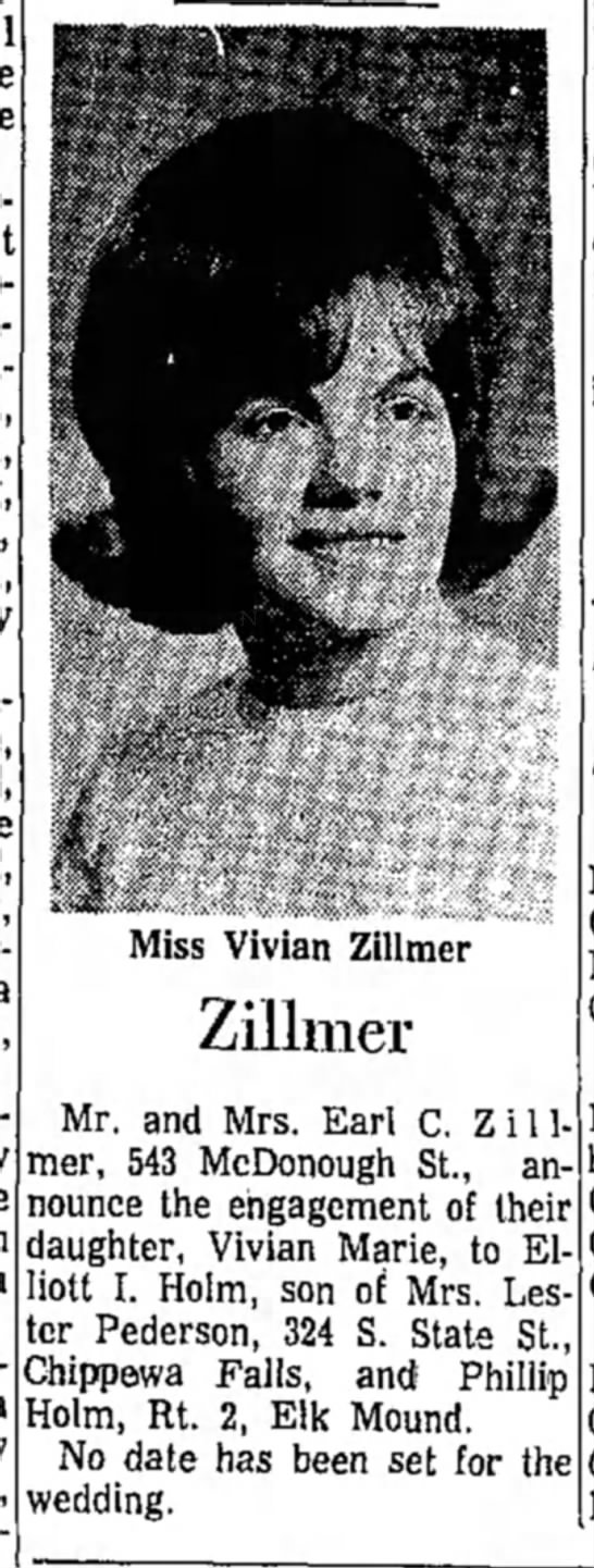 Vivian Zillmer's engagement announcement to Elliott I. Holm (daughter of Earl C. Zillmer)
