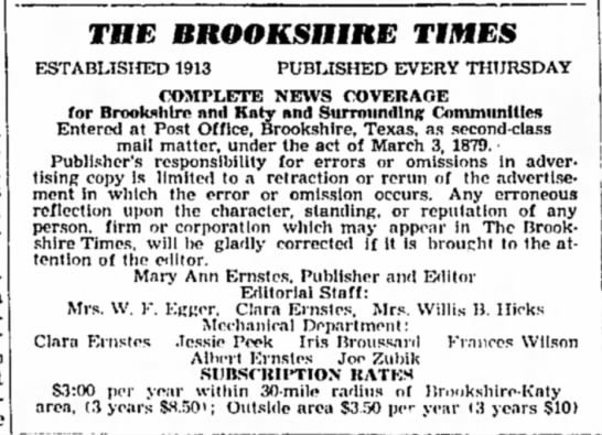 Joe Zubik -- Staffer at The Brookshire Times