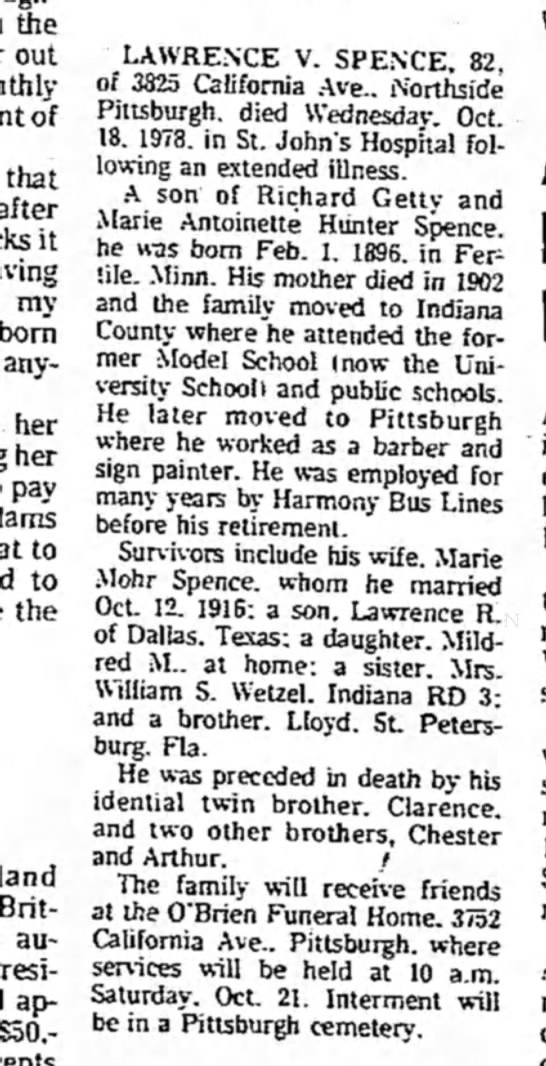 Lawrence V. Spence Obit.