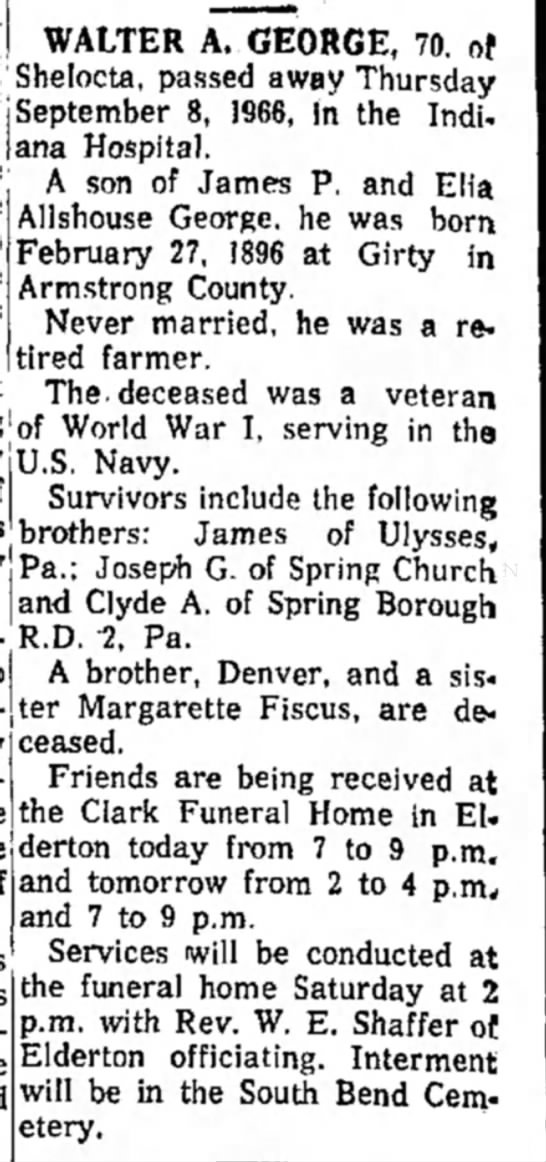 Obituary of Walter A George - dated 8 Sep 1966