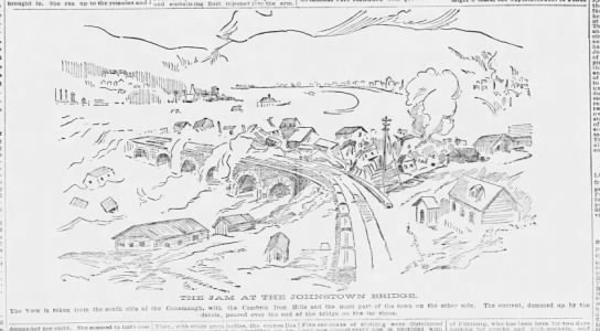 Depiction of debris piled up against the stone bridge during the Johnstown flood of 1889