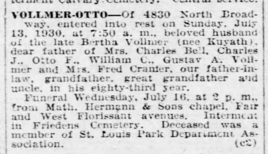 Obituary of Otto Vollmer, Sr.