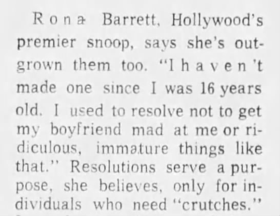 Rona Barrett delivers harsh opinion on New Year's Resolutions, 1971