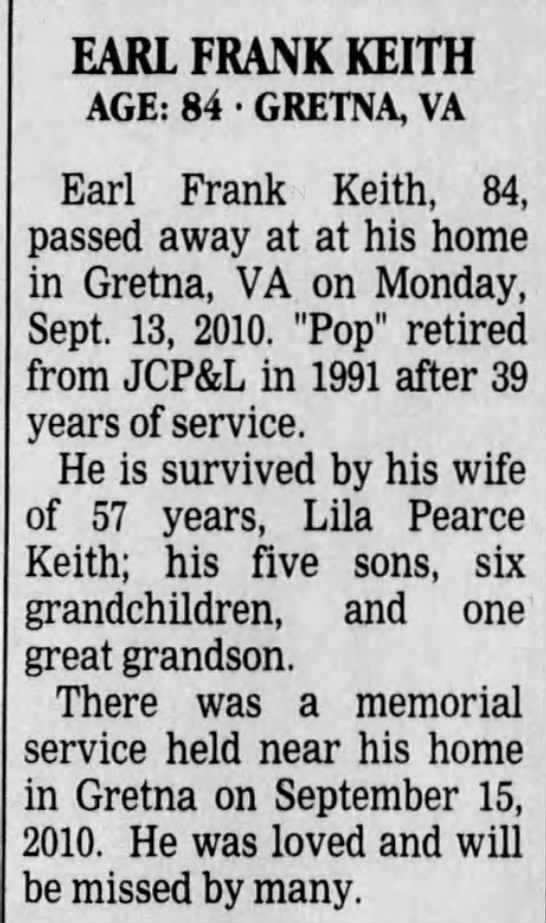 Obituary for Earl Frank Keith