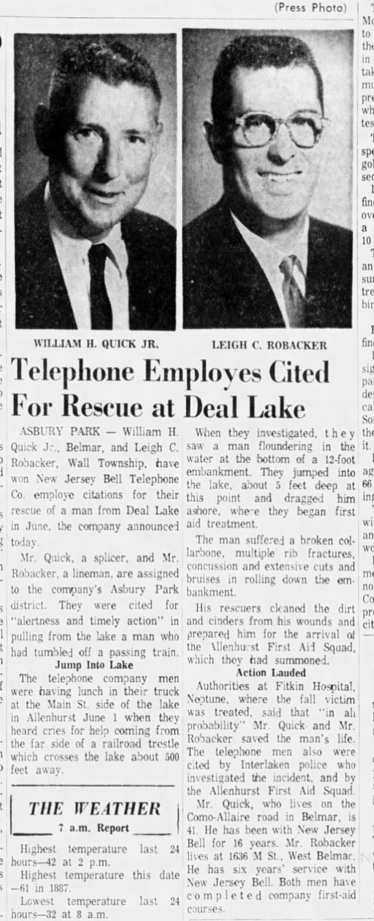 Telephone Employees Rescue a Man: December 1962