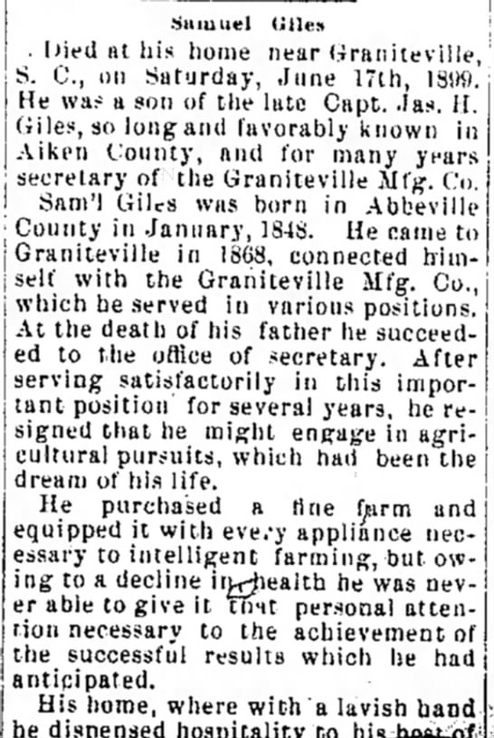 Obituary for Samuel Giles. 1899.Aiken Standard. 21 June 1899, page 2