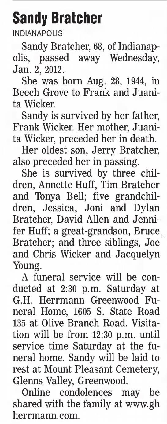 Sandy Wicker Bratcher obituary 2013