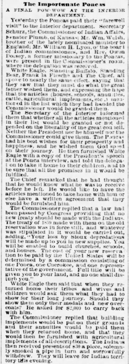 Evening Star (Wash DC) p 1 17 Nov. 1877 Final Pow-Wow, w/ medals