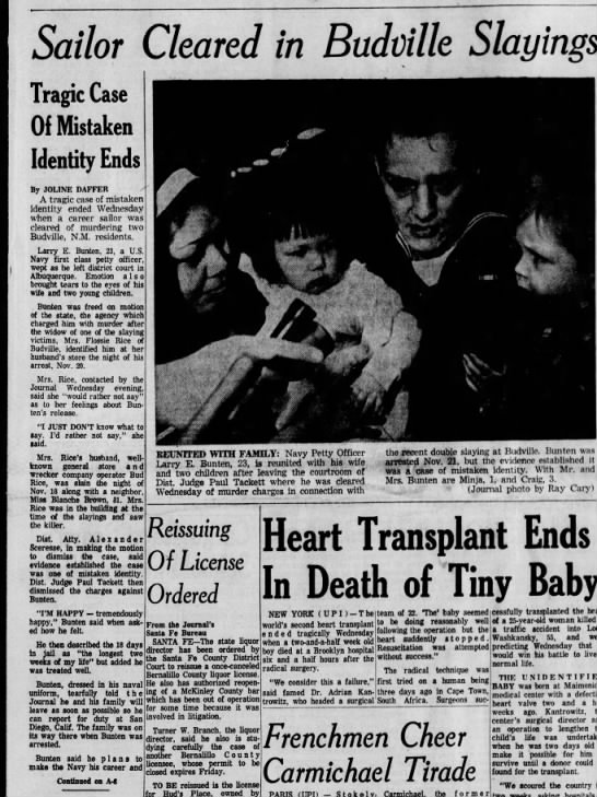 Sailor Cleared in Budville Slayings  Tragic Case of Mistaken Identity December 7, 1967