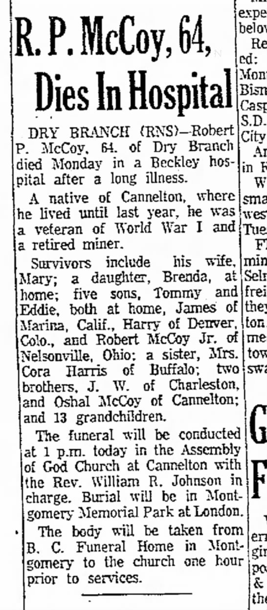 Beckley Post-Herald; December 13, 1961, page 10.