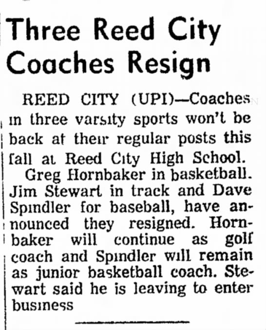 1972 Three RC Coaches Resign Hornbaker, Stewart, Spindler